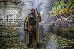Hellboy cosplay in an abandoned factory complex